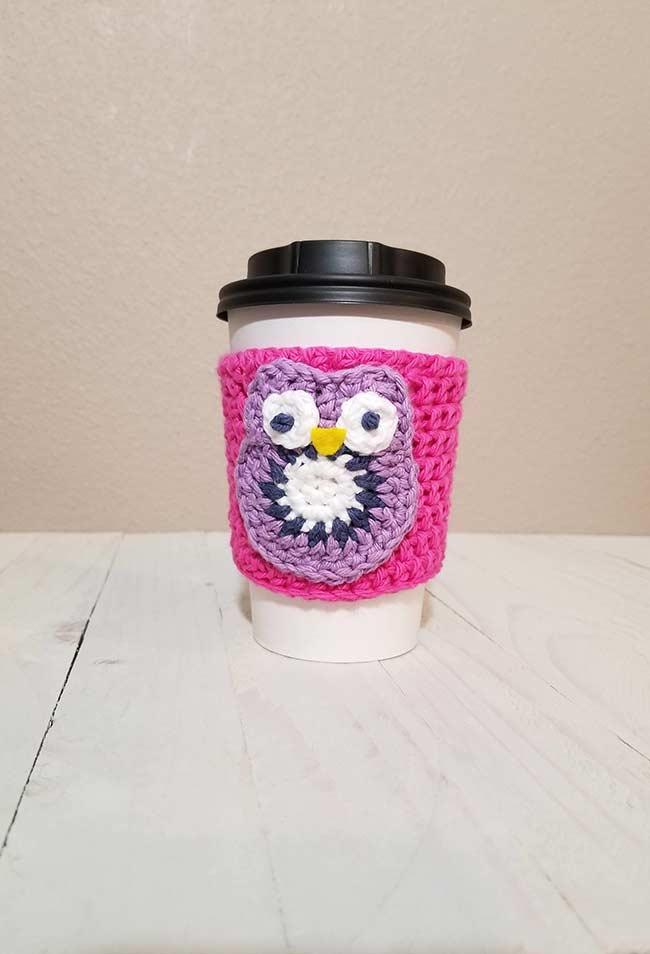 Porta-copo de crochê para café e bebidas quentes
