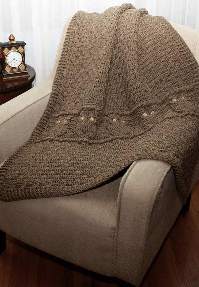 Manta para sofá com corujinhas