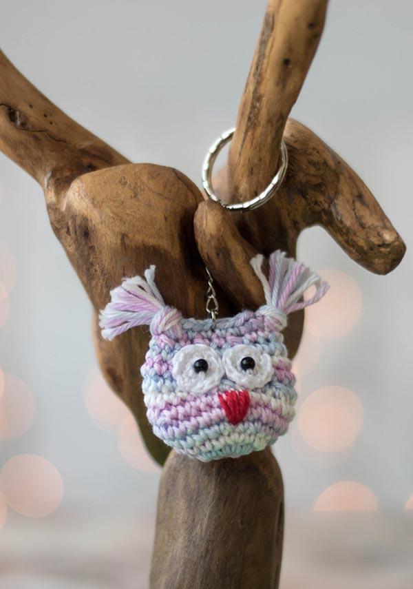 Chaveirinho de coruja de crochê