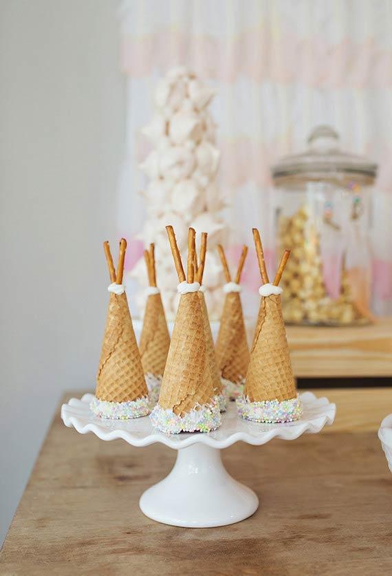 Casquinhas de sorvete confeitadas