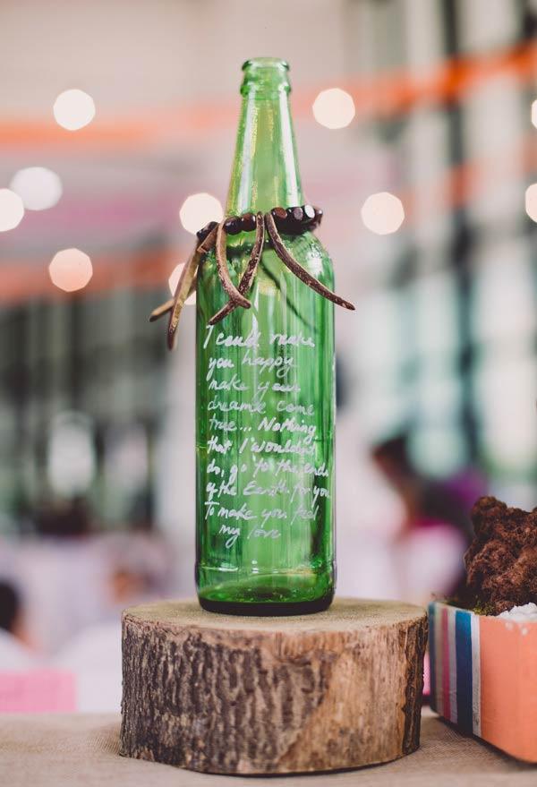 Um pedido especial na garrafa