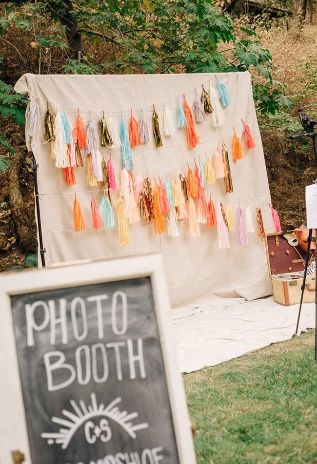 Estação de fotos para a festinha