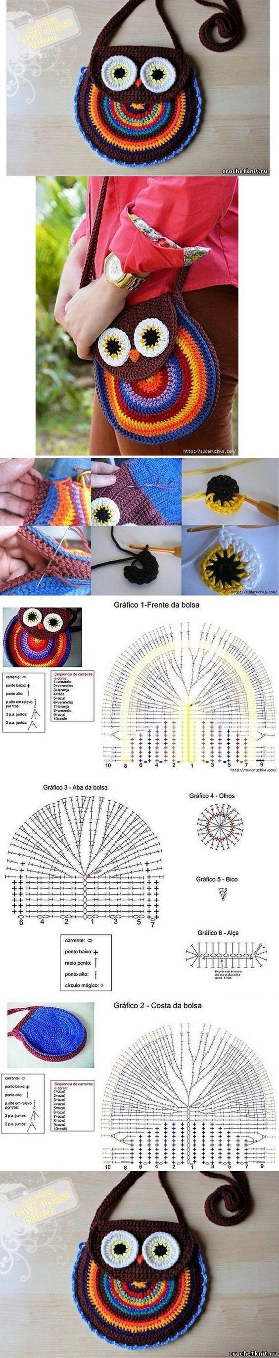 Bolsa de coruja de crochê com gráfico