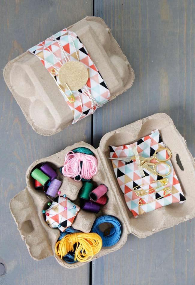 Caixinha de artesanato com caixa de ovo