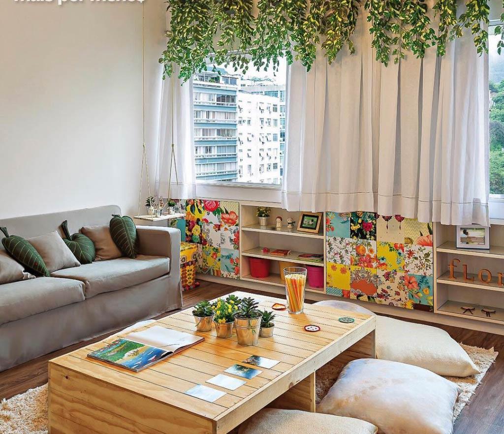 Acrescente o patchwork para uma decoração simples e barata na sala de estar