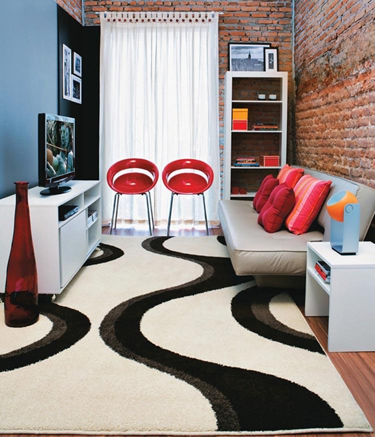 Crie um efeito através do piso ou com o uso de tapetes