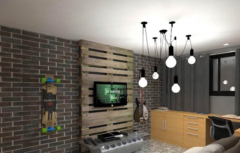 Sala de estar com painel de pallet