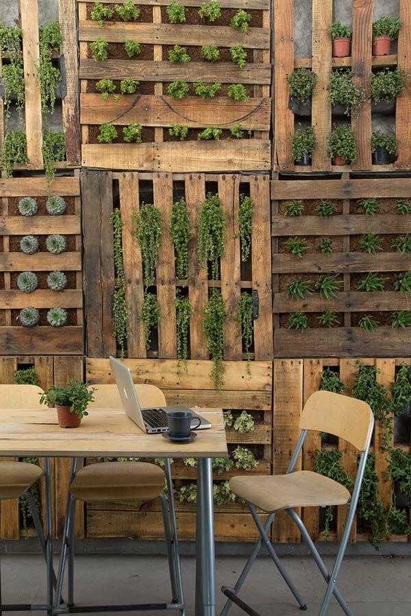 Painel de pallet para jardim vertical