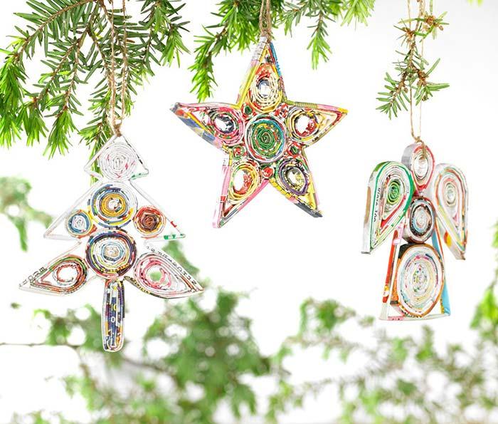 Enfeite de Natal reciclado com revista