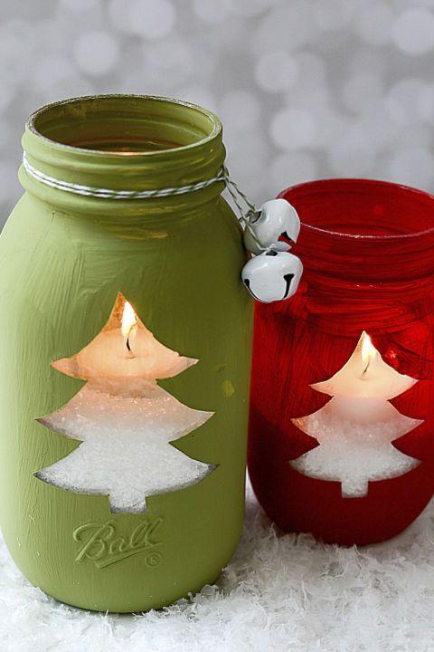 Suportes para velas feitos com potes de vidro