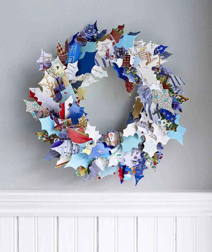 Enfeite de Natal reciclado com papeis