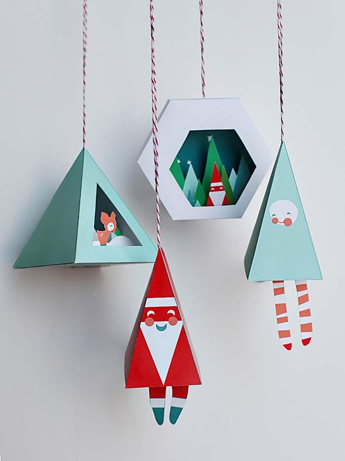Enfeites de Natal com corte e colagem
