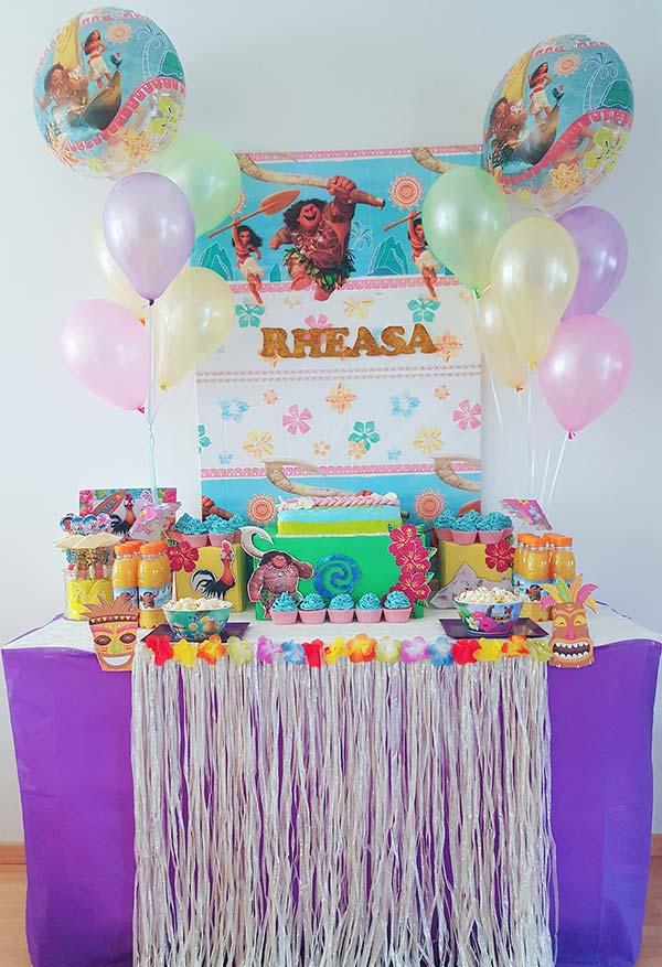 Decoração da festa Moana simples