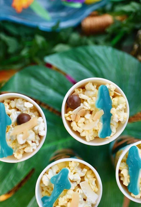 Snacks variados para a festa Moana