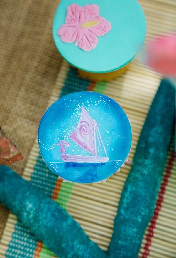 Decoração de cupcakes para festa Moana