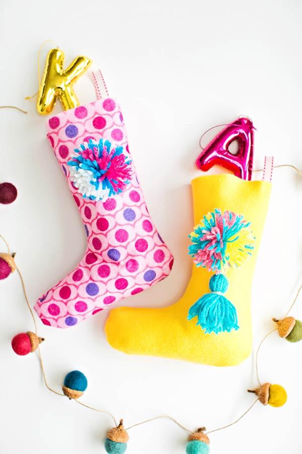 Meias decorativas de Natal em feltro