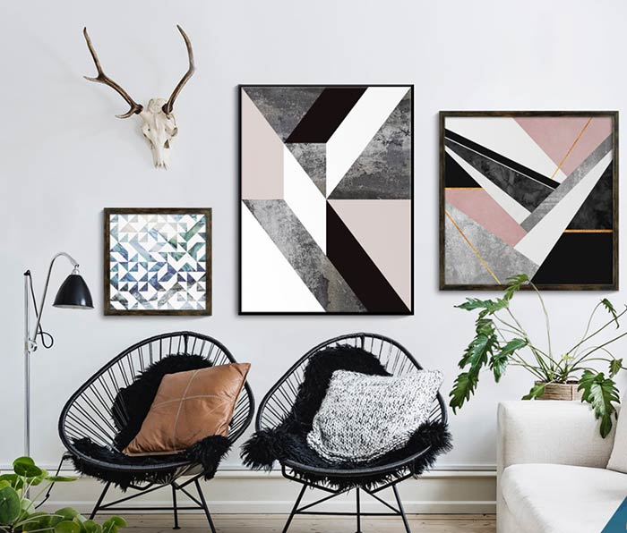 Uma composição moderna e jovial para a parede.