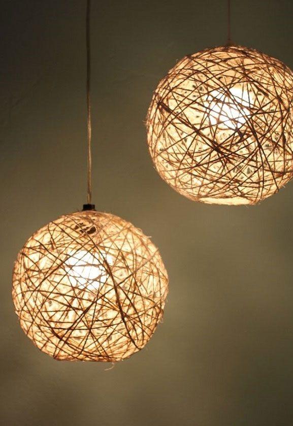 Detalhes de luminária com barbante