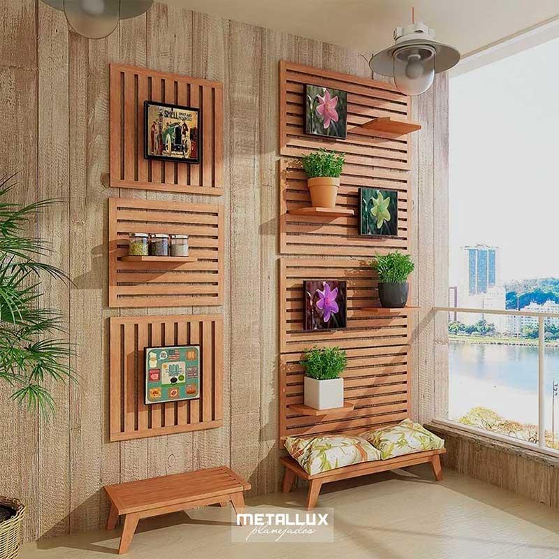 Muita elegância na decoração da varanda gourmet com painel de pallet