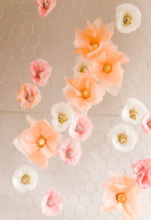 Detalhes das flores com filtro de café