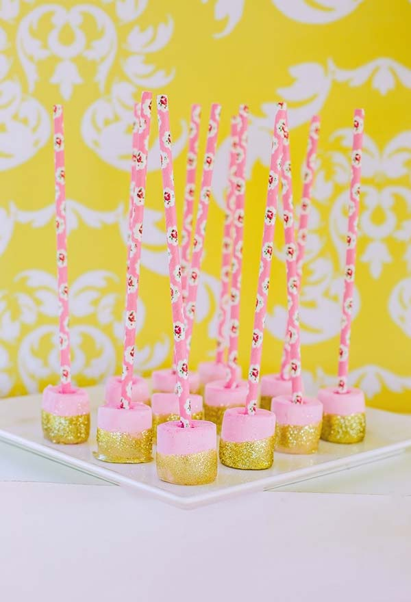 Marshmellow com calda dourada
