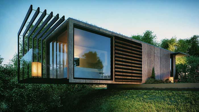 O terreno ajuda a realçar a arquitetura