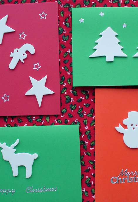 Para cortar e distribuir cartões de Natal