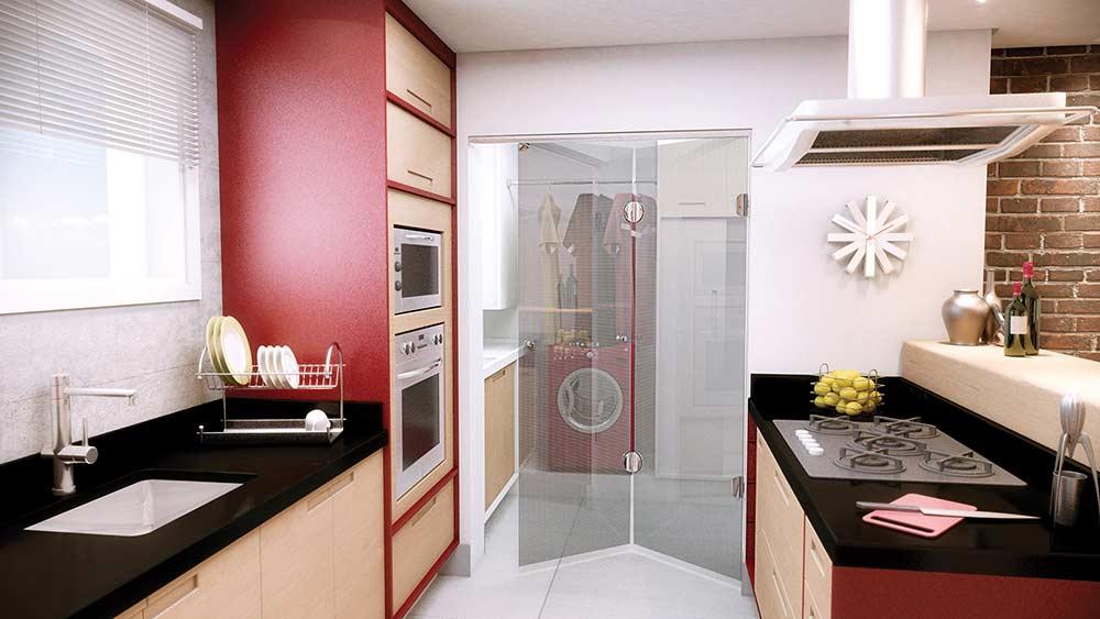 Porta de vidro para cozinha integrada