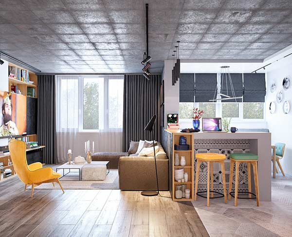 Ambiente com duas propostas de cortina e persiana