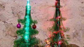 Árvore de Natal de garrafa PET: 40 ideias e passo a passo