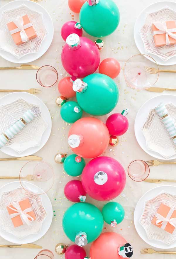 Bolas de Natal para a decoração da mesa