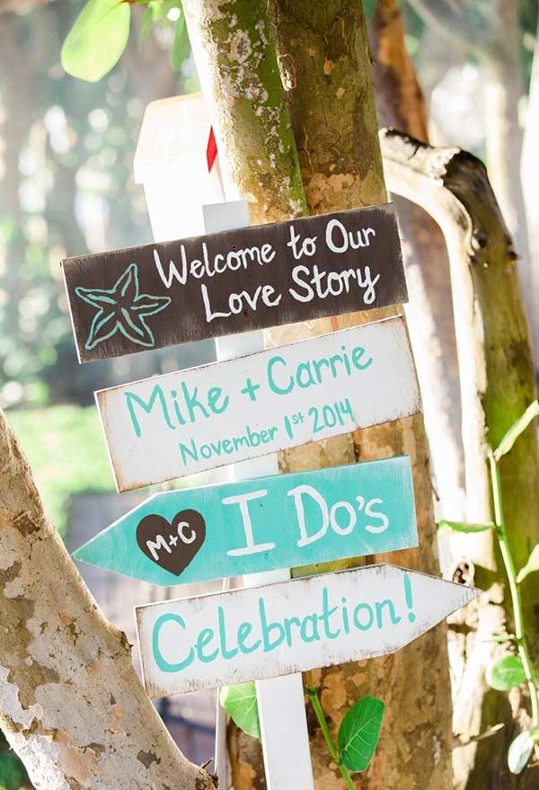 Azul Tiffany em placa decorativa para festa de casamento