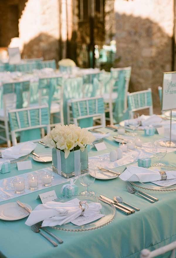 Tecidos na cor azul Tiffany para a decoração do casamento