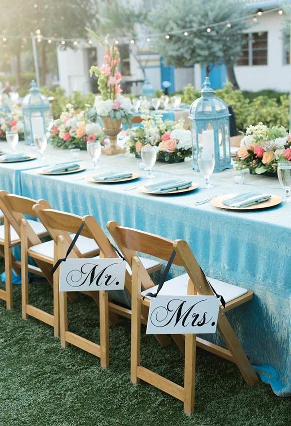 Azul Tiffany como a cor principal do casamento