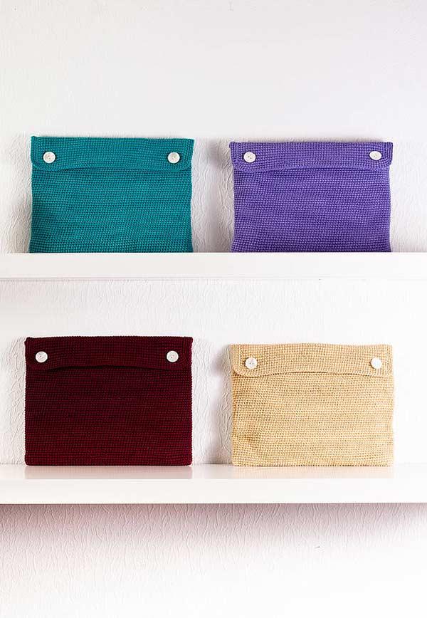 Bolsos coloridos para guardar materiais e decorar