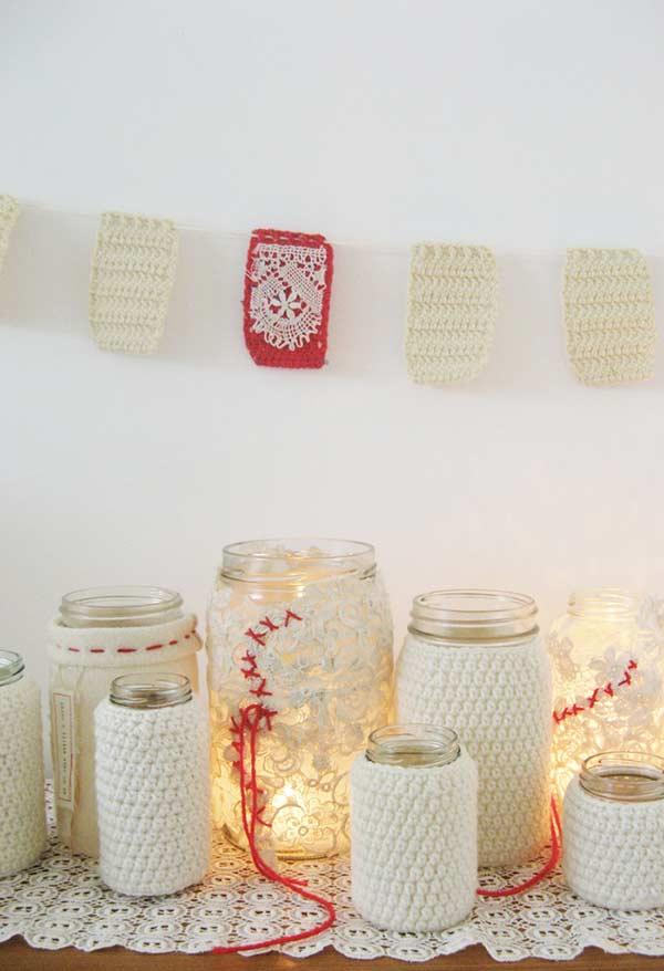 Jarros de vidro personalizados com crochê