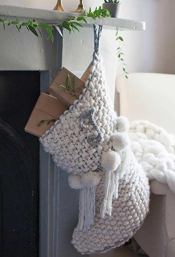 Meia para guardar os objetos decorativos