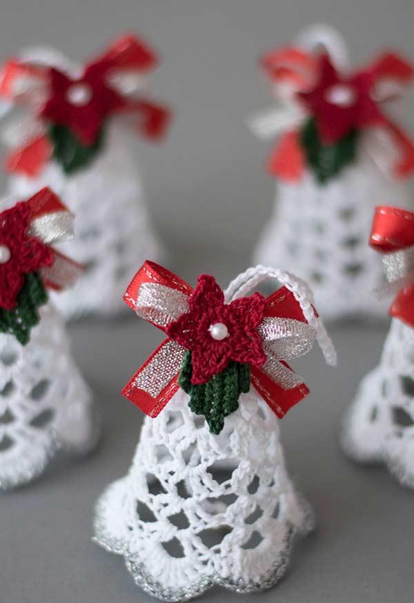 Artesanato em crochê para decorar a árvore