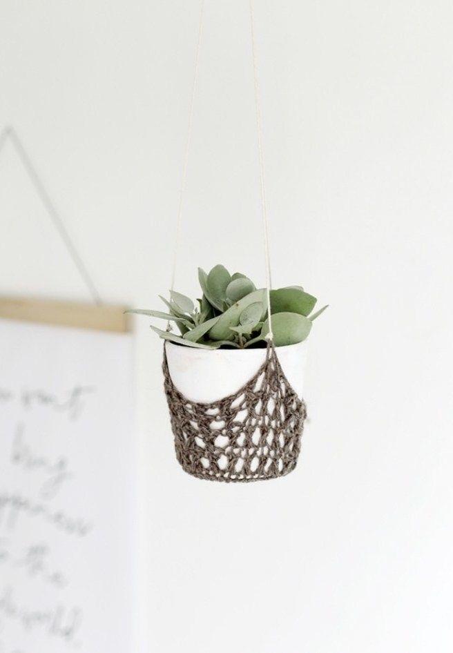 Porta-vaso em crochê delicado