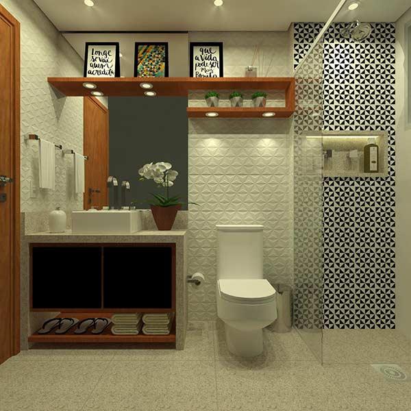 Azulejo para banheiro com formato geométrico