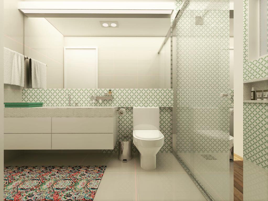 Azulejos coloridos em um banheiro com base neutra