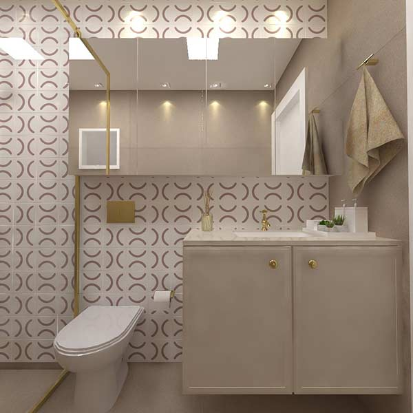 Azulejo para banheiro feminino e jovial