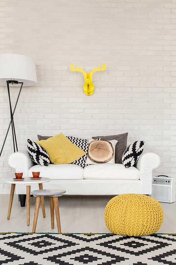 Almofadas preto e branco com almofadas coloridas