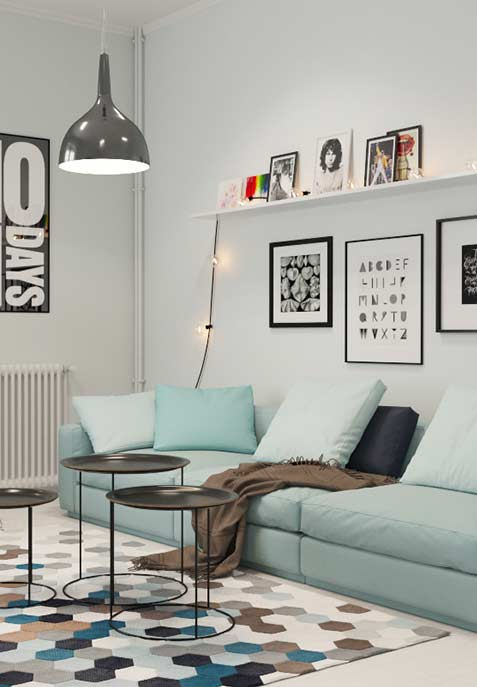 Almofadas no mesmo tom do sofá