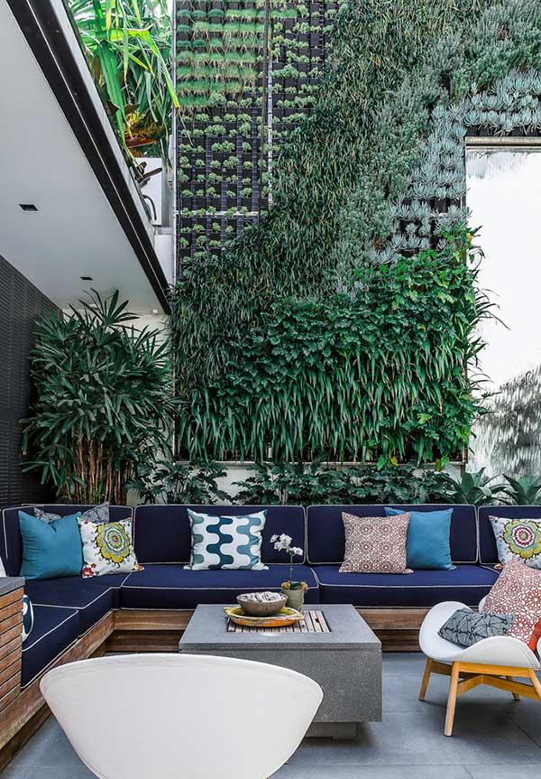 Combinação de almofadas para sofá em área ao ar livre