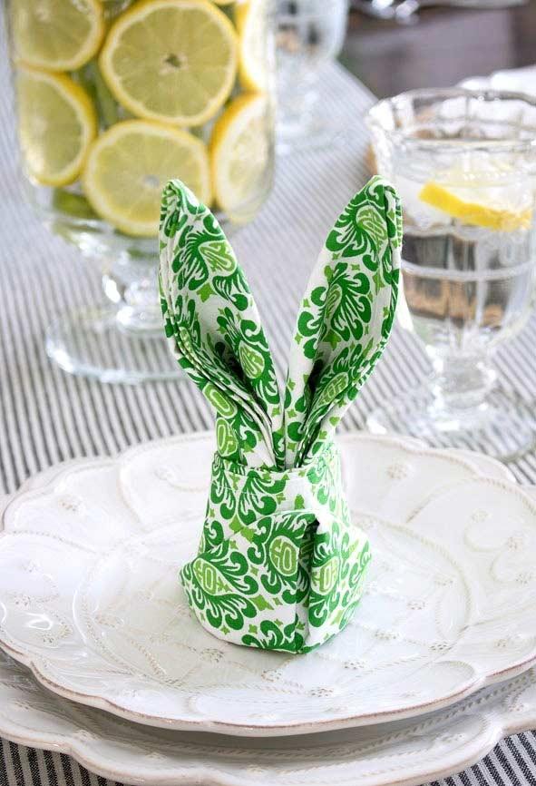 Coelhinhos de guardanapo de tecido