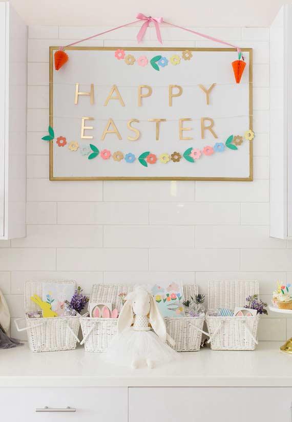 Bancada especial decorada para a Páscoa
