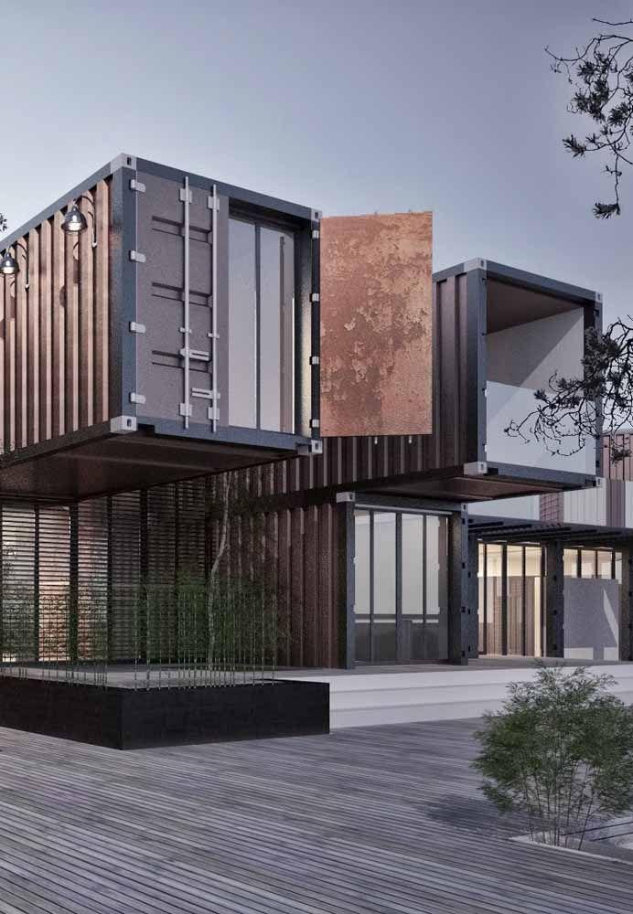 Usando vários containers você pode construir uma casa do tamanho que você quiser