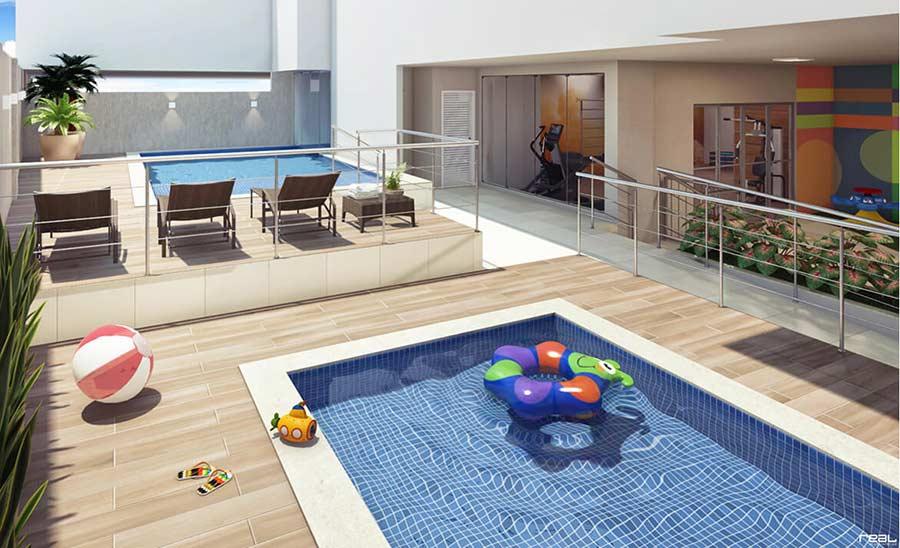 Separe a piscina infantil da piscina adulta