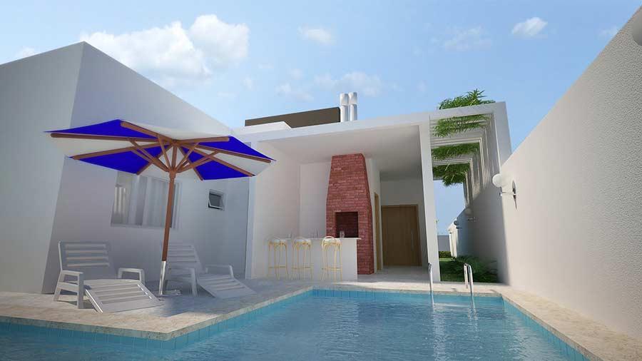 Quintal decorado com piscina e churrasqueira